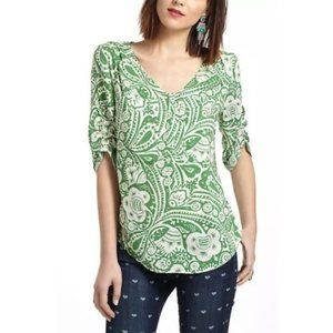 Maeve By Anthropologie Green Floral Blouse